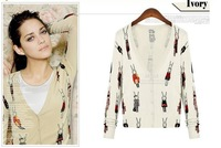 2013 fashion print V-neck long-sleeved sweater women , women's knit cardigan Free shipping