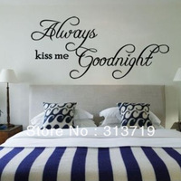 wholesales*Vinyl Stickers Always Kiss Me Goodnight Quote Wall Decals Removable Room Decor MZ006 Free DropShipping
