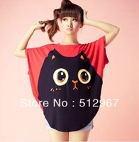 New Summer Women Big Cat Smile Short Batwing Sleeved Shirt Cute Loose Fit Top (Red,Black) Freeshipping