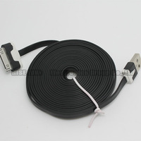 10FT/3M 30 Pin usb noodle cable charger charging cord data for iphone 4/4S/3GS black