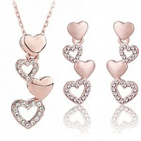 Wholesale 18K gold plated austrian crystal Mutual affinity set women wedding necklace+earrings fashion jewelry sets