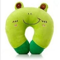 Unique Toys Cute Fashion Cartoon Green Frog Pattern U shape Neck Pillow Travel Car Home Pillow Free shipping