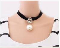 Min order is 10usd ! 2013 New Fashion Gem Europe Beautiful Big Pearl  bead Crystal collar Club choker neckalce ! free shipping!