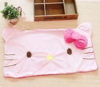 Free Shipping 64*42cm Hot Single People Short Plush Bowknot Rose Red Cute Kitty Head Shape Pillowcase