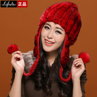 Rex rabbit lobbing ear knitted cap women's sweet flower winter thermal street fashion