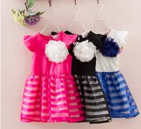 Children's Clothing Freeshipping baby Girls Summer Dresses children's  white with black dot  Minnie Mouse dress Dot Girl Dress