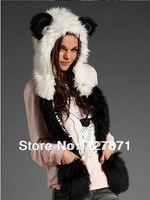 Fashion fur hat female winter animal cap faux fur one piece cartoon cap belt scarf  Free shipping