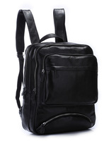Black leather backpack men school backpack boy leather bookbag with laptop compartment TIDING 31021