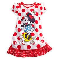 Freeshipping baby Girls Summer Dresses children's cartoon red Minnie Mouse dress Dot Girl Dress 80cm-120cm Children's Clothing