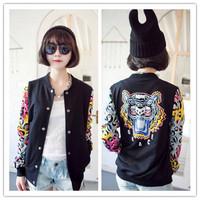 new 2014 colorful tiger printed baseball jacket fashion jacket woman coat women cardigan clothing