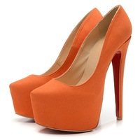 New Women's Fashion Sexy Red Bottom Platform 16cm Stiletto High Heels Shoes Party Pumps Big Size 4~11