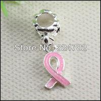 50PCS/LOT Enamel Pink Ribbon Breast Cancer Awareness Dangle Pendant Beads fit European Bracelet jewelry findings