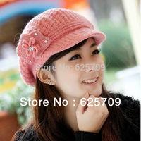 2013 New Hot Winter Women Rabbit fur Warm Fashion Beanies Gangnam Style Knit Ski Hat cap 6 Colors