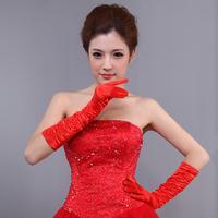 The bride wedding dress formal dress gloves pleated red satin gloves