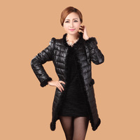 2013 mink hair leather clothing outerwear female autumn and winter slim medium-long down coat genuine leather down coat