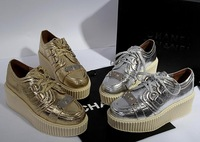New arrivals Womens brand real leather gold sliver 5cm wedge 4cm platfom high cut lace-up buckled leisure sneaker gz shoe