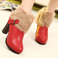 Rabbit fur snow boots princess vintage thick heel high-heeled platform snow boots Free shipping
