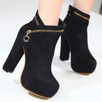 Winter martin boots vintage fashion brief high-heeled thick heel platform casual all-match boots