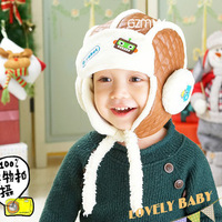 Leather baby hat Cute baby cap Cotton charm autumn and winter hat baby head cap lei feng style cap baby locomotive cap