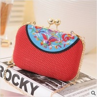 New Retro Ethnic Style Embroidery Pattern Women Mini Purse. Chain Alloy Buckle Clutch Evening Bag / Shoulder Bag Free Shipping