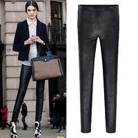 Autumn&Winter, All-Match PU Leather Ladies Leggings, Fleece Thicken Womens Pencil Pants