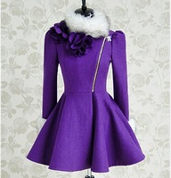 Pink large dolls 2013 purple white fur collar slim expansion bottom woolen overcoat women outerwear
