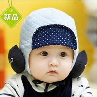 2013 pocket winter baby hat child hat baby hat earmuffs cotton cloth cap male female child