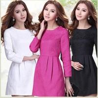 Qualities Autumn Casual Dress Big Large Size XXXL Women's Long Sleeve Pleated Waist Summer Dress 2014 Ladies Pink And Black