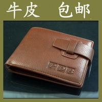 Male male genuine leather wallet men's wallet cowhide short wallet design double