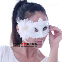 Gorgeous ostrich wool mask white black prom blindages women's feather mask