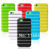 Tpu silicone Robot Stripe case for iPhone 5c. Colorful Stripe tpu case for iPhone 5 c 100 PCS/lot DHL Free Shipping