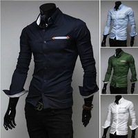 2013 autumn new men's fashion business casual long-sleeved shirt casual style cotton shirt M-XXL