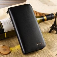 Quality male cowhide wallet zipper genuine leather clutch casual elegant fine lines long design wallet