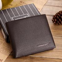 Soft short design wallet cowhide wallet genuine leather wallet male short design wallet