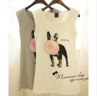 Womens Dog Balloon Print Sleeveless T-Shirt