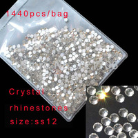 SS12 Crystal Rhinestone 1440pcs/bag Made in china Transparent color For Nail Art By China post air mail Free shipping