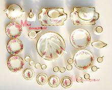 Dollhouse Miniature Porcelana Rosa Chá Jogo de jantar 40PCS DC29()