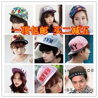 Hiphop cap large decorative pattern baseball cap bboy female flat-brimmed hat summer cap