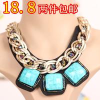 2 fashion gem short design necklace metal false collar female gift