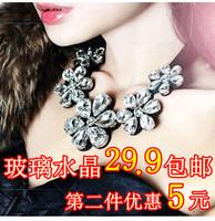 Vintage crystal flower false collar glass the collar necklace black lacing