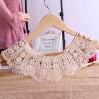 Vintage handmade crochet lace false collar cape collar decoration