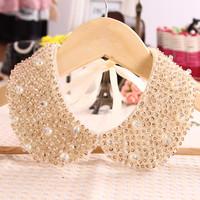 Spring pearl false collar women's vintage black collar