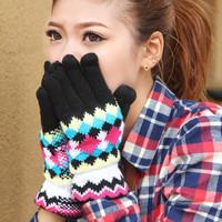 Winter women's rhombus thermal yarn gloves finger gloves thickening knitted gloves short
