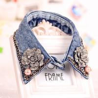 Summer denim women's false collar pearl peaked collar diamond chain flower collar