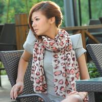 Women's large leopard print chiffon scarf silk scarf cape dual-use ultra long paragraph