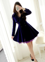 2013 autumn and winter female large lapel double breasted blue big skirt mohini wool overcoat outerwear