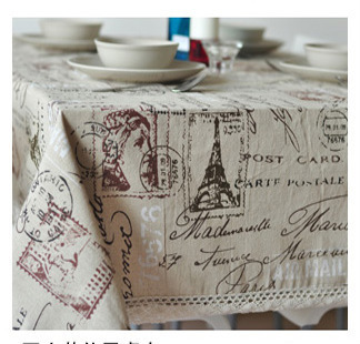 Free shipping rustic Linen vintage  tablecloth with lace for home Eiffel Tower  140*180cm