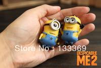 Free shipping Despicable Me Keychain Movie Anime Minions Figure Pendants 2pcs/set Free Shipping