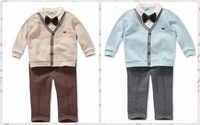 new 2013,autumn -summer clothing set,0-4 years boy clothes,newborn baby romper,gentleman style clothes,sports suit