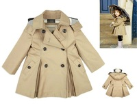 The new 2013 autumn and winter children clothing baby girls Khaki windbreaker coat baby infant trench coat high quality